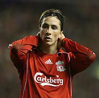 Photo: Paul Greenwood/Sportsbeat .<br />Liverpool v Porto. UEFA Champions League. 28/11/2007.<br />Reaction from Liverpools Fernando Torres