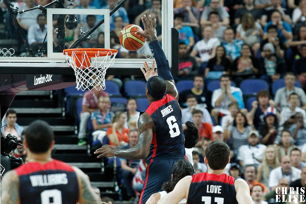 10 August 2012: USA LeBron James blocks the ball during 109-80 Team USA victory over Team Argentina, during the men's basketball semi-finals, at the North Greenwich Arena, in London, Great Britain.