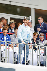 June 22, 2018 - Madison, WI, U.S. - MADISON, WI - JUNE 22: Local Madison NBC weatherman Charlie Shortino enjoys the action at eighteenduring the American Family Insurance Championship Champions Tour golf tournament on June 22, 2018 at University Ridge Golf Course in Madison, WI. (Photo by Lawrence Iles/Icon Sportswire) (Credit Image: © Lawrence Iles/Icon SMI via ZUMA Press)
