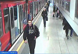 © Licensed to London News Pictures. 29/11/2013. A CCTV still showing Private Lee Rigby  at Woolwich DLR station on 22 May 2013, the day he was killed. The image was shown in court on 29 November 2013, during the trial of Michael Adebolajo and Michael Adebowale for the murder of Drummer Lee Rigby  .Photo credit : LNP