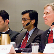 "Dietrich Snell (right), Raj De (center) and Michael Jacobsen (left). Commission staffers present Staff Statement No. 16, ""Outline of the 9/11 Plot."" The 9/11 Commission's 12th public hearing on ""The 9/11 Plot"" and ""National Crisis Management"" was held June 16-17, 2004, in Washington, DC."