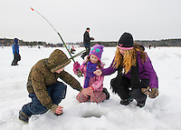 Ice Fishing on Lily Pond with the Sportmen's club in Gilford.  ©2016 Karen Bobotas Photographer