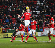 Free kick causing chaos in the box during the Sky Bet Championship match between Charlton Athletic and Cardiff City at The Valley, London, England on 13 February 2016. Photo by Matthew Redman.