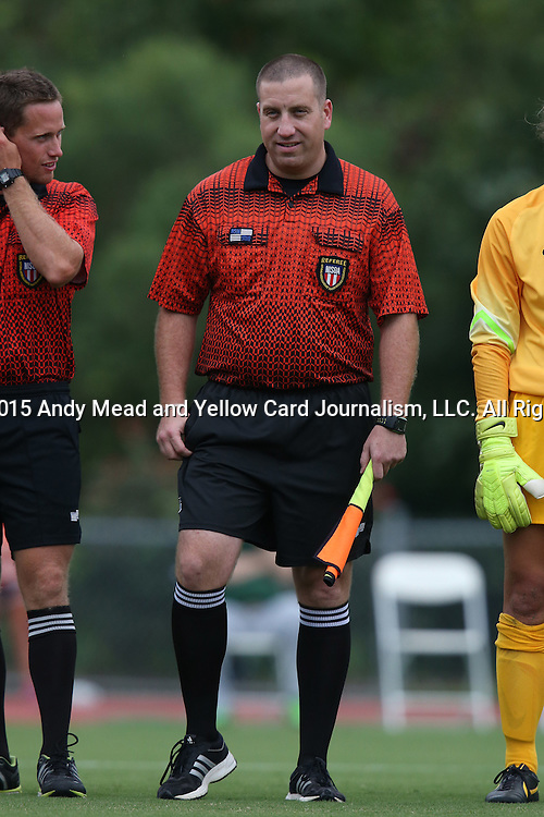 04 September 2015: Assistant Referee Evan Frank. The Wake Forest University Demon Deacons played the William & Mary University Tribe at Dail Soccer Field in Raleigh, NC in a 2015 NCAA Division I Women's Soccer game. The game ended in a 1-1 tie.