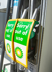 © Licensed to London News Pictures 24/09/2021.<br /> Mottingham, UK, No petrol or Diesel at this BP station in Mottingham Village, South East London. Chaos at the forecourts as people start to panic buy petrol. BP has started to ration petrol and diesel due to a shortage of truckers. Photo credit:Grant Falvey/LNP