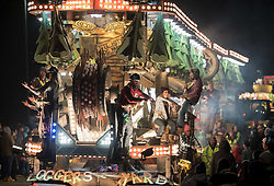 © Licensed to London News Pictures. 05/11/2016. Bridgwater, Somerset, UK. The Bridgwater Carnival, the biggest illuminated carnival in Europe and the oldest event of its kind in the UK.  It is part of the Somerset Carnival season. The event also features Squibbing, first recorded 300 years ago, at the Bridgwater Carnival. Photo credit : Simon Chapman/LNP