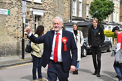 June 8, 2017 - London, London, United Kingdom - Image ©Licensed to i-Images Picture Agency. 08/06/2017. London, United Kingdom. leader of the Labour Party Jeremy Corbyn arrives at a  polling station in North London,  to cast his vote in the 2017 General Election. Picture by Andrew Parsons / i-Images (Credit Image: © Andrew Parsons/i-Images via ZUMA Press)