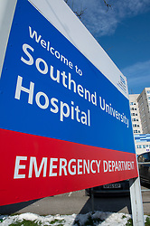 © Licensed to London News Pictures 13/02/2021.        Southend, UK. Southend University Hospital sign in Essex. Southend has 13.946 positive covid cases with 216 new cases recored in the last seven days. The government is hoping to have administered 15 million vaccinations by Monday as the Coronavirus R-rate in the UK is below one and is between 0.7 and 0.9 in all regions which is the lowest since July last year. Photo credit:Grant Falvey/LNP