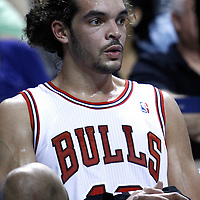 29 January 2012: Chicago Bulls center Joakim Noah (13) is seen on the bench during the Miami Heat 97-93 victory over the Chicago Bulls at the AmericanAirlines Arena, Miami, Florida, USA.