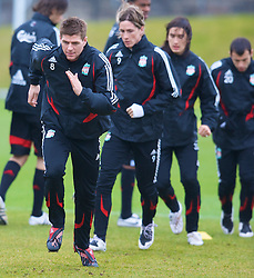 LIVERPOOL, ENGLAND - Thursday, March 20, 2008: Liverpool's captain Steven Gerrard MBE and Fernando Torres training at Melwood ahead of the Premiership clash with Manchester United on Easter Sunday. (Photo by David Rawcliffe/Propaganda)