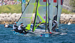 03.08.2012, Bucht von Weymouth, GBR, Olympia 2012, Segeln, im Bild Delle - Karth Nico, Resch Nikolaus, (AUT, 49er) // during Sailing, at the 2012 Summer Olympics at Bay of Weymouth, United Kingdom on 2012/08/03. EXPA Pictures © 2012, PhotoCredit: EXPA/ Daniel Forster ***** ATTENTION for AUT, CRO, GER, FIN, NOR, NED, POL, SLO and SWE ONLY!