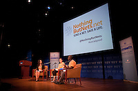 """Randi Zuckerberg at the 92nd Street Y speaking on the topic of Malaria at a Social Good Summit """"Town Hall"""" with Mandy Moore in New York.   ...Photo by Robert Caplin."""