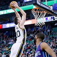 27 January 2016: Utah Jazz forward Gordon Hayward (20) goes for the dunk during the Utah Jazz 102-73 victory over the Charlotte Hornets, at the Vivint Smart Home Arena, Salt Lake City, Utah, USA.