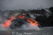 lava enters the ocean where a lava river, emanating from Fissure 8 of the Kilauea Volcano east rift zone near Pahoa meets the sea just south of Cape Kumukahi, Kapoho, Puna District, Hawaii Island ( the Big Island ), Hawaiian Islands, U.S.A. ( Pacific Ocean )