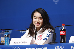 February 18, 2018 - Pyeongchang, KOREA - United States figure skater Bradie Karen Chen at press conference during the Pyeongchang 2018 Olympic Winter Games at Kwandong Hockey Centre. Finland beat Sweden 7-2. (Credit Image: © David McIntyre via ZUMA Wire)