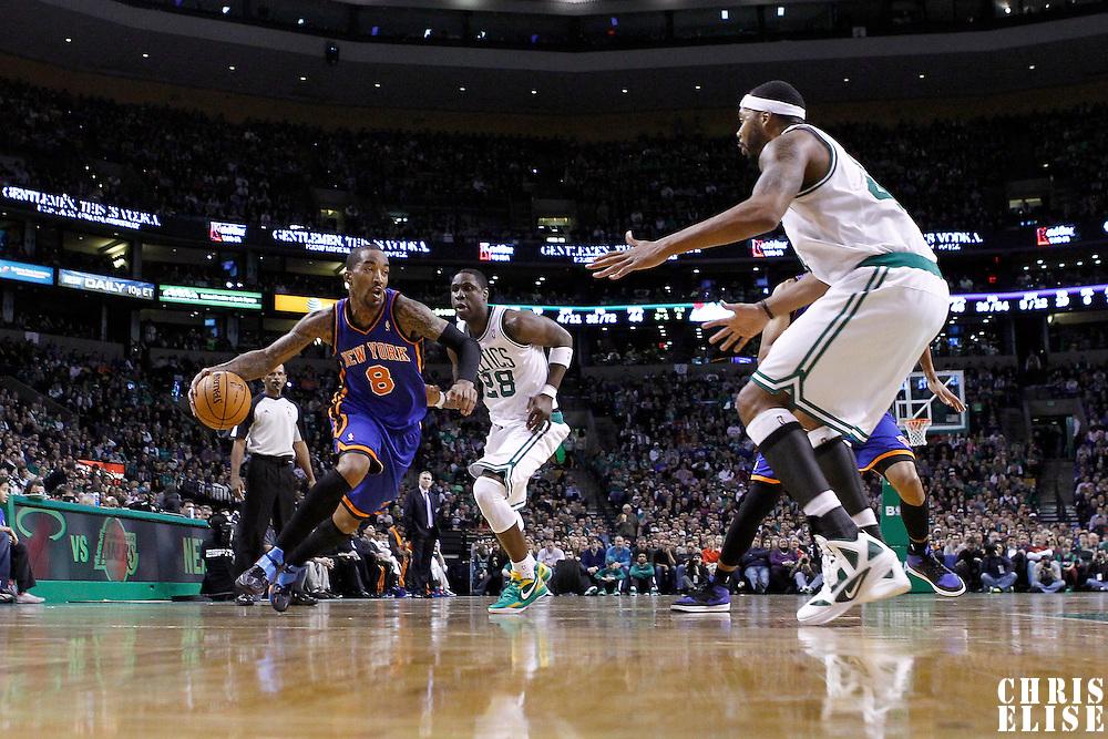 04 March 2012: New York Knicks shooting guard J.R. Smith (8) drives past Boston Celtics small forward Mickael Pietrus (28) during the Boston Celtics 115-111 (OT) victory over the New York Knicks at the TD Garden, Boston, Massachusetts, USA.