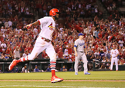 May 31, 2017 - St Louis, MO, USA - The St. Louis Cardinals' Dexter Fowler reacts as he rounds the bases after hitting a solo home run off of Los Angeles Dodgers pitcher Ross Stripling in the eighth inning on Wednesday, May 31, 2017, at Busch Stadium in St. Louis. The Cards won, 2-1. (Credit Image: © Chris Lee/TNS via ZUMA Wire)