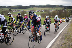 Vita Heine (NOR) of Hitec Products Cycling Team rides mid-pack during the Liege-Bastogne-Liege Femmes - a 135.5 km road race, between  Bastogne and Ans on April 23, 2017, in Liege, Belgium.