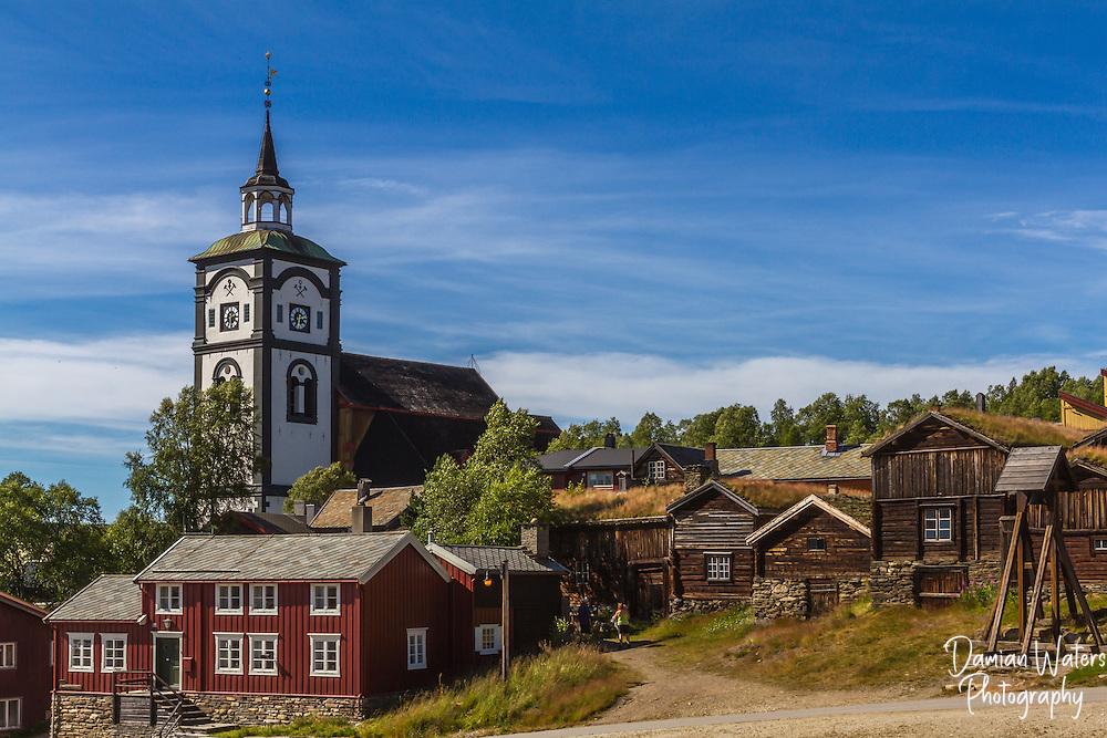 Roros church, kirke, and buildings Norway - August
