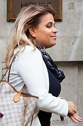 Nadia Essex outside her employment tribunal in London where she is suing  former Celebs Go Dating co-host Eden Blackman for unfair dismissal. London, April 24 2019.