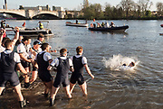 Mortlake/Chiswick, GREATER LONDON. United Kingdom. 2017 Men's Boat Race winners OUBC held over,The Championship Course, Putney to Mortlake on the River Thames.<br /> <br /> Crew: Oxford, Bow: William Warr, 2: Matthew O'Leary – USA, 3: Oliver Cook, 4: Joshua Bugaski, 5: Olivier Siegelaar – NED, 6: Michael DiSanto – USA, 7: James Cook, Stroke: Vassilis Ragoussis, Cox: Sam Collier <br /> <br /> Cambridge; Bow: Ben Ruble – USA, 2: Freddie Davidson, 3: James Letten – USA., 4: Tim Tracey – USA., 5: Aleksander Malowany –CAN., 6: Patrick Eble – USA, 7: Lance Tredell, Stroke: Henry Meek and Cox: Hugo Ramambason – <br /> <br /> <br /> Sunday  02/04/2017<br /> <br /> [Mandatory Credit; Peter SPURRIER/Intersport Images]