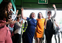 Co-Directors of Together For Yes Orla O'Connor (left) Grainne Griffin (centre) and Ailbhe Smyth arrive at the count centre in Dublin's RDS as votes are counted in the referendum on the 8th Amendment of the Irish Constitution which prohibits abortions unless a mother's life is in danger. Picture date: Saturday May 26, 2018. See PA story IRISH Abortion. Photo credit should read: Brian Lawless/PA Wire