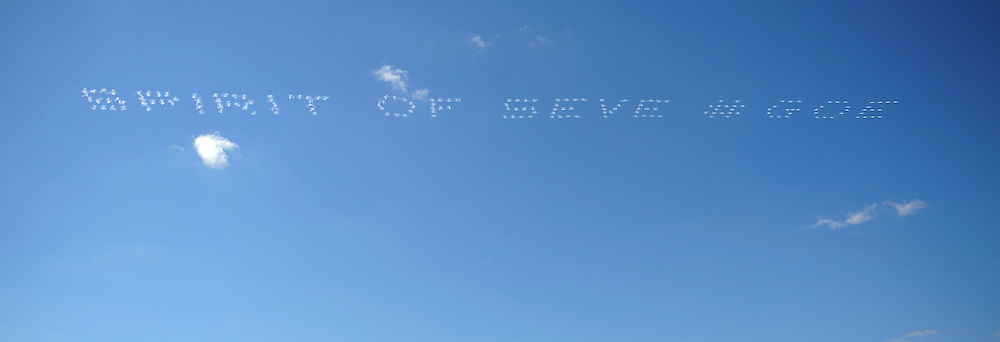 """""""spirit of Seve """" written in the sky during final day Singles,Ryder Cup Matches,Medinah CC,<br /> Medinah,Illinois,USA."""