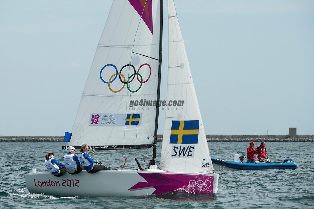 2012 Olympic Games London / Weymouth<br /> <br /> Match Race Training<br /> Match RaceSWEKjellberg Anna, Harrysson Lotta, K?llstr?m Malin