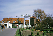 Bascule bridge and traditional village homes at Marken, Netherlands, 1973