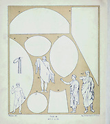 Roman toga material spread from Geschichte des kostüms in chronologischer entwicklung (History of the costume in chronological development) by Racinet, A. (Auguste), 1825-1893. and Rosenberg, Adolf, 1850-1906, Volume 1 printed in Berlin in 1888