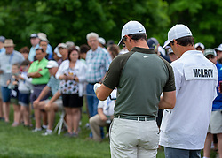 June 2, 2018 - Dublin, OH, U.S. - DUBLIN, OH - JUNE 02: Rory McIlroy and his caddie Harry Diamond look over their notes before teeing off during the third round of the Memorial Tournament at Muirfield Village Golf Club in Dublin, Ohio on June 02, 2018.(Photo by Jason Mowry/Icon Sportswire) (Credit Image: © Jason Mowry/Icon SMI via ZUMA Press)
