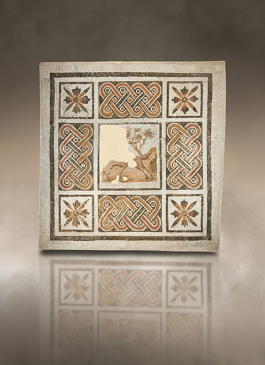 Pictures of a geometric Roman mosaics with strap work and cruciform flowers and in the centre a damaged depiction of a running deer, from the ancient Roman city of Thysdrus, Jilani Guirat area. 3rd century AD. El Djem Archaeological Museum, El Djem, Tunisia. Against an art background .<br /> <br /> If you prefer to buy from our ALAMY PHOTO LIBRARY Collection visit : https://www.alamy.com/portfolio/paul-williams-funkystock/roman-mosaic.html . Type - El Djem - into the LOWER SEARCH WITHIN GALLERY box. Refine search by adding background colour, place, museum etc<br /> <br /> Visit our ROMAN MOSAIC PHOTO COLLECTIONS for more photos to download as wall art prints https://funkystock.photoshelter.com/gallery-collection/Roman-Mosaics-Art-Pictures-Images/C0000LcfNel7FpLI