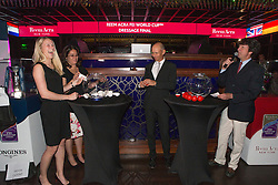 Kirk Thinggaard Agnete, (DEN) and Peters Steffen, (USA) in the Hakkasan Club at the MGM Hotel performing the draw for the Grand Prix <br /> Reem Accra FEI World Cup™ Dressage Finals <br /> Las Vegas 2015<br />  © Hippo Foto - Dirk Caremans<br /> 16/04/15