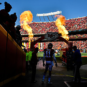 Kansas City Chiefs quarterback Alex Smith (11) waited to be introduced before the game against the Oakland Raiders on December 10, 2017 at Arrowhead Stadium in Kansas City, Mo. The Chiefs won, 26-15.