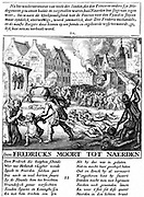 Spanish troops torching buildings and slaughtering civilians during Alva's repressive Spanish Roman Catholic rule in the Protestant Netherlands (1567-73). Copperplate engraving