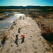 Dinosaur Tracker, Martin Lockley investigates brontosaur trackways near the Purgatoire River in S.E CO.  The parallel tracks, along an ancient lake shoreline of the Morrison Formation are convincing evidence sauropods were social.
