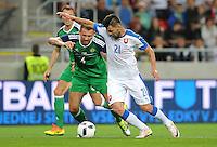 2016.06.04 Trnava, Slowacja<br /> Pilka Nozna Reprezentacja Mecz towarzyski<br /> Slowacja - Irlandia Polnocna <br /> N/z Gareth McAuley, Michal Duris<br /> Foto Rafal Rusek / PressFocus<br /> <br /> 2016.06.04 Trnava, Slovakia<br /> Football Friendly Game<br /> Slovakia - Northern Ireland<br /> Gareth McAuley, Michal Duris<br /> Credit: Rafal Rusek / PressFocus