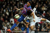 Real Madrid´s Marcelo Vieira and Levante UD´s Jordi Xumetra Feliu during 2014-15 La Liga match between Real Madrid and Levante UD at Santiago Bernabeu stadium in Madrid, Spain. March 15, 2015. (ALTERPHOTOS/Luis Fernandez)