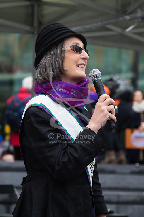 """City Hall, London, March 5th 2017. Stars join March4Women through London. Mayor of London Sadiq Khan and suffragette descendents prepare to march and """"sing for a fairer world ahead of International Women's Day"""". Attended by Annie Lennox, Emeli Sande, Helen Pankhurst, Bianca Jagger and with musical performances from Emeli Sande, Melanie C and more. PICTURED: Helen Pankhurst, great granddaughter of Emily Pankhurst."""