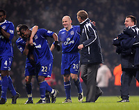 Photo: Tony Oudot/Sportsbeat Images.<br /> West Ham United v Everton. Carling Cup. 12/12/2007.<br /> Everton manager David Moyes congratulates Lee Carsley as Everton celebrate at the end of the game