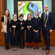 05/03/2019<br /> Pictured are award winners Elle Conway, Patrick Peters, Kate Madden, and Ailbhe O'Connell-McManus, from An Mhodscoil, along with Sara Montoya, co-op member of Fairtrade Colombia, and Cllr Daniel Butler, Mayor of the Metropolitan District of Limerick.<br /> <br /> Fairtrade worker Sara Montoya, from a Fairtrade Coffee Co-op in Colombia was the special guest in Limerick City and County Council chamber today at an event to coincide with Fairtrade Fortnight.<br />  <br /> Sara joined Fairtrade supporters from across Limerick and Ireland for the annual initiative, which features a programme of talks and community events aimed at promoting awareness of Fairtrade and Fairtrade-certified products.<br />  <br /> Speaking at the event in Dooradoyle, Sara outlined the success and benefits of the Fairtrade movement in Colombia and how important it is for people in the developed world think of Fairtrade products when shopping.<br />  <br /> This year's campaign 'Create Fairtrade' invites us all to use our imagination and create fairtrade in our lives.<br />  <br /> Young people from across Limerick city and county were also a focus of the event as they displayed their posters, which they created to help change the way people think about trade and the products on our shelves.<br /> Photo by Diarmuid Greene