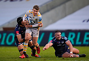 Wasps fly-half Charlie Atkinson runs through Sale Sharks flanker Cobus Wies during the Gallagher Premiership Rugby match Sale Sharks -V- Wasps  at The AJ Bell Stadium, Greater Manchester, England United Kingdom, Sunday, December 27, 2020. (Steve Flynn/Image of Sport)