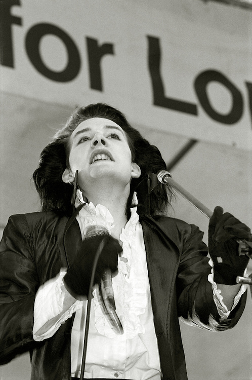 The Damned play the GLC Festival in Brockwell Park, Brixton,London. Saturday June 4 1984. [singer Dave Vanian pictured]
