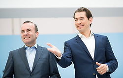 04.05.2019, Sofiensäle, Wien, AUT, ÖVP, Wahlkampfauftakt zur EU-Wahl. im Bild EVP-Spitzenkandidat zur Europawahl Manfred Weber und Bundeskanzler Sebastian Kurz (ÖVP) // MEP Manfred Weber (European Peoples Party) and Austrian Federal Chancellor Sebastian Kurz during campaign opening regarding to Eurpean Parliment Elections of the Austrian People' s Party in Vienna, Austria on 2019/05/04. EXPA Pictures © 2019, PhotoCredit: EXPA/ Michael Gruber