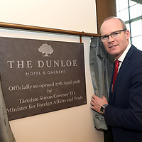 """27-4-2018: Pictured at the opening of the five-star Dunloe Hotel & Gardens, located close to one of Ireland's most iconic tourist destinations, the Gap of Dunloe, Killarney following an €18 million  renovation on Friday was Tanaiste Simon Coveney after unveiling the commemorative plaque.<br /> Photo: Don MacMonagle<br /> <br /> pr photo photo<br /> Press release:<br /> The five-star Dunloe Hotel & Gardens, located close to one of Ireland's most iconic tourist destinations, the Gap of Dunloe, officially opened its doors today, (Friday 27th April) after undergoing a stunning 18-month renovation of the restaurant, bar, reception, lobby and lounge spaces as well as the enhancement of the gardens and carpark.<br /> A substantial €18million investment by the hotel's owners the Liebherr family, has brought new life to the hotel, enhancing its long-standing relationship with the beautiful surroundings and maximising the property's unrivalled views of the Gap of Dunloe. The Liebherr family has been at the forefront of tourism and manufacturing industries in Killarney and the surrounding areas for over 60 years, employing 1,000 people across the country. Tánaiste Simon Coveney TD, Minister for Foreign Affairs & Trade, joined Dr. Isolde Liebherr to celebrate and welcome the reopening of this magnificent 5-star hotel.<br /> Speaking at the official re-opening, Tánaiste Simon Coveney TD said, """"It is my great pleasure to open a new jewel for tourists in Ireland, in a place that is one of the jewels in the crown of our entire tourist industry. The Liebherr family's commitment to Ireland, with more than 1000 employees, is so important and appreciated. The rebirth of this hotel is a further sign of the Liebherrs' dedication"""".  Local building contractors Griffin Brothers led the year and a half long renovation with the assistance of O'Carroll Engineering who implemented the building's steel works. At the height of the build, the site had over 160 people working across all areas, incl"""