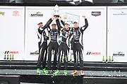January 24-27, 2019. IMSA Weathertech Series ROLEX Daytona 24. #11 GRT Grasser Racing Team Lamborghini Huracan GT3, Orange 1 Racing, GTD: Mirko Bortolotti, Christian Engelhart, Rik Breukers, Rolf Ineichen win the Daytona 24 hrs.