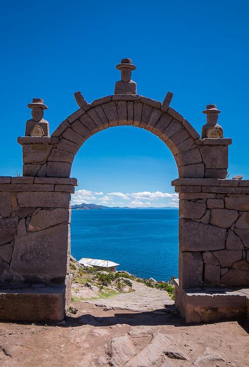 Typical arch in Taquile Island, Lake Titicaca, Peru.