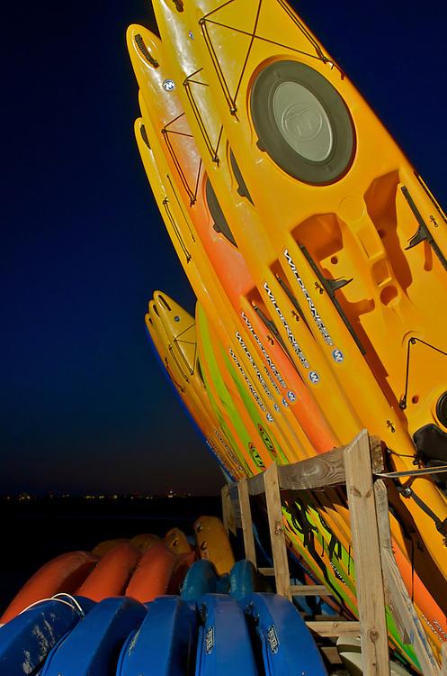 Kayaks at Dusk in Honeymoon Island, FL.