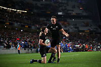 Rugby Union - 2017 Pacifica Challenge - New Zealand v Samoa<br /> <br /> Beauden Barrett of The All Blacks celebrates scoring his first try with Israel Dagg at Eden Park Stadium, Auckland.<br /> <br /> <br /> COLORSPORT/LYNNE CAMERON