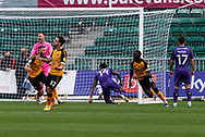GOAL 1-0 Newport County's Saikou Janneh (20) turns away after scoring the opening goal during the EFL Sky Bet League 2 match between Newport County and Tranmere Rovers at Rodney Parade, Newport, Wales on 17 October 2020.